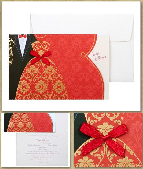 Invitatie Nunta Rochie Rosie Aurie 0115432 Cataloginvitatii