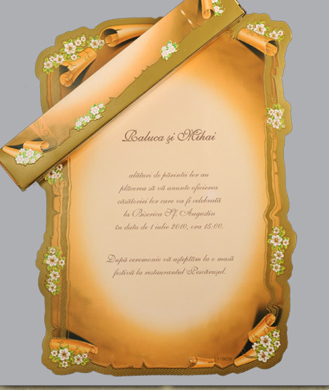 Invitatie Nunta Papirus Cu Motiv Floral 0119038 Cataloginvitatii