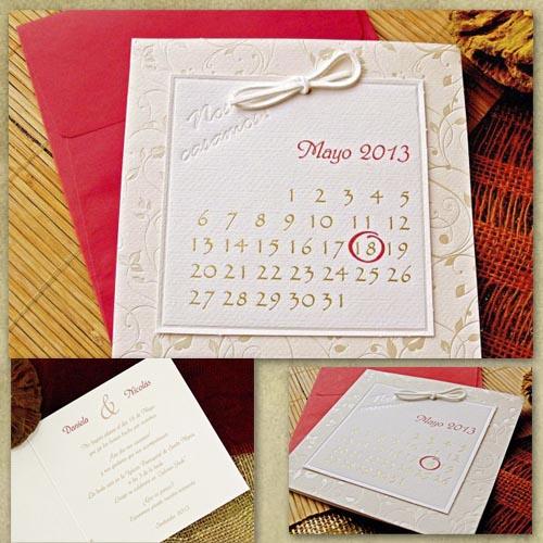 Invitatie calendar cu patern floral