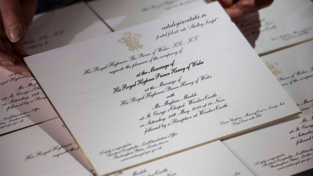 ce font este folosit pe invitatia printului Harry