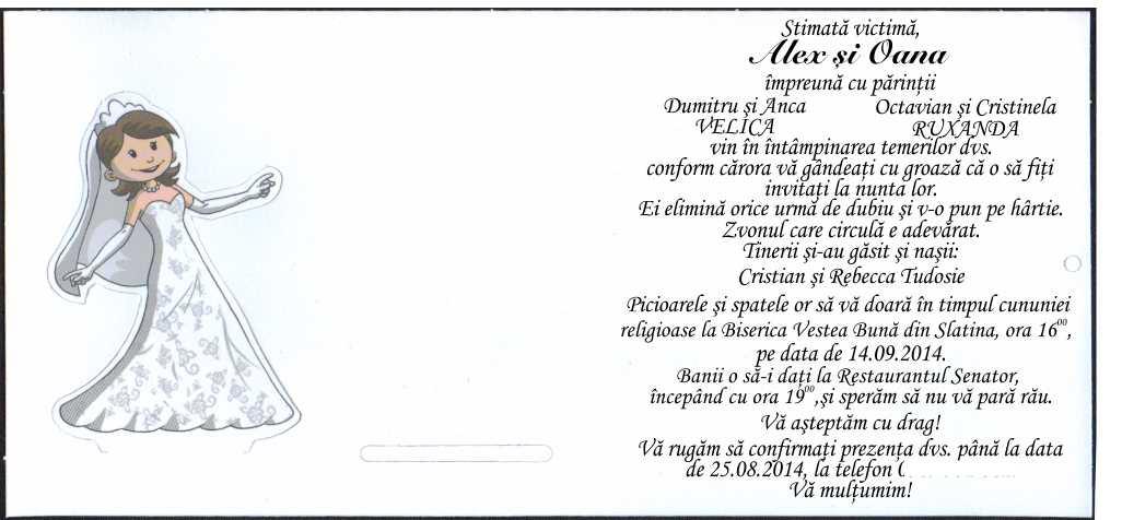 Invitatie De Nunta Haioasa Dans Miri 5421 Cataloginvitatii