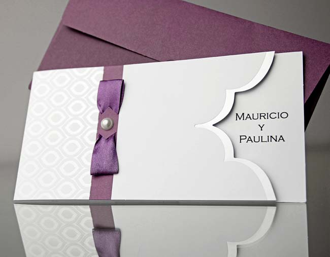 Invitatie De Nunta Cu Banda Mov 34916 Cataloginvitatii