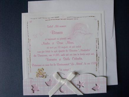 invitatie botez roz