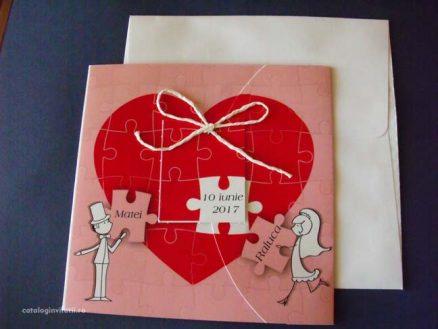 invitatie puzzle inima