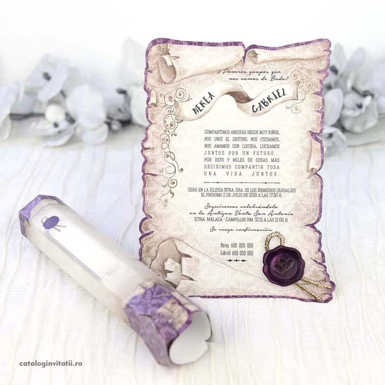 invitatie papirus bordura si pecete mov 39215