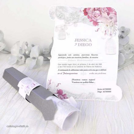 invitatie papirus model floral si colivie 39227