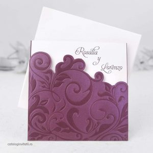 Invitatie model floral sidefat lila 32805
