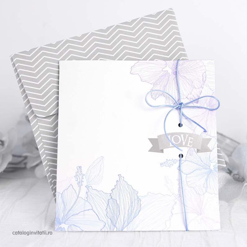 invitatie cu design floral albastru 39234
