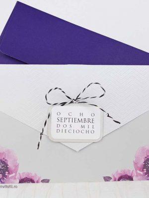 invitatie model floral cu funda alb negru 39216