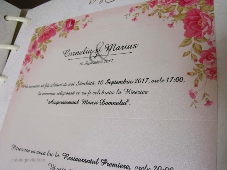 invitatie coronita flori roz 2719