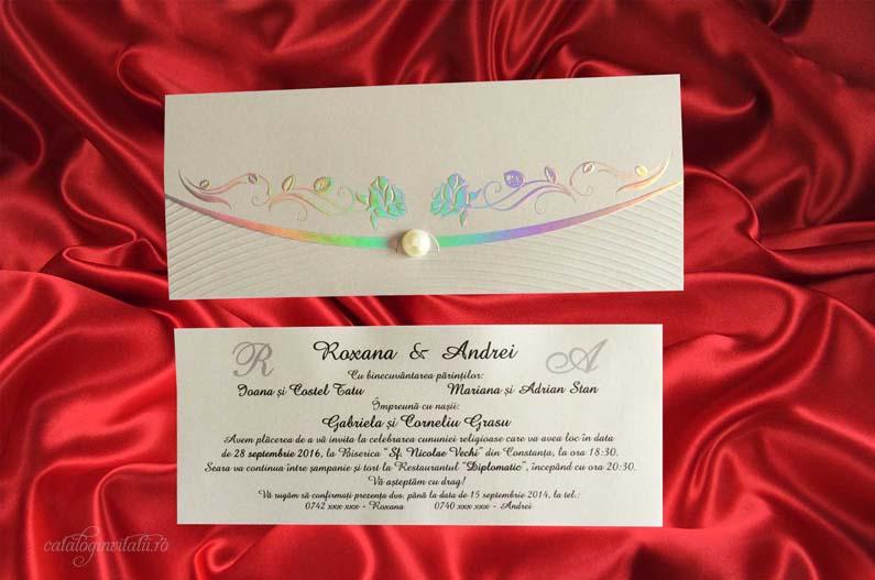 invitatie trandafiri argintii 2250
