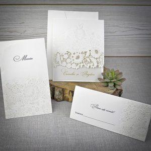Set invitatie laser cut floral