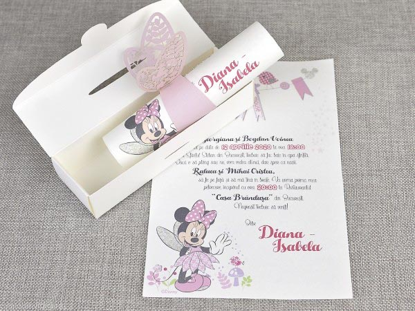 detaliu cutie si invitatie Butterfly minnie the mouse 15708