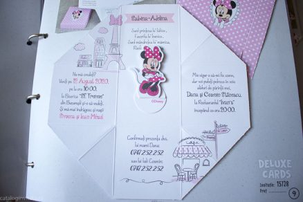 detaliu din catalog Invitatie botez cutiuta Minnie 15728
