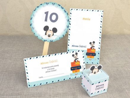 Set Invitatie botez valiza Mickey the Mouse