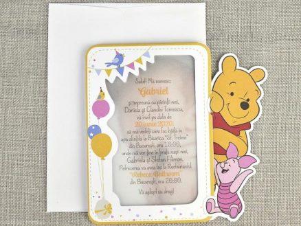 detaliu departat Invitatie Winnie the Pooh Piglet cu poza copil 15729