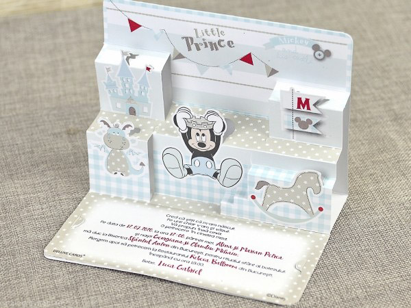 detaliu departat invitatie botez Little Prince Mickey 3D 15702