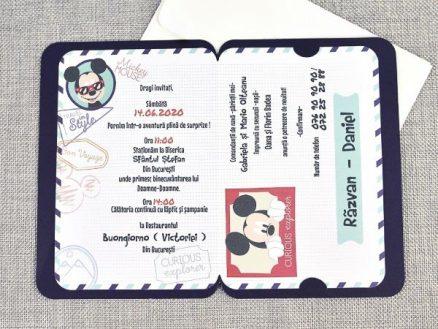 detaliu text invitatie botez Mouseport Mickey 15705