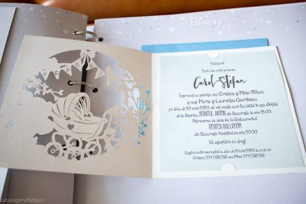 Detaliu text si decupaj laser din catalog invitatie New Baby Boy Sun Laser Cut 15710