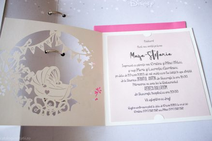 detaliu din catalog invitatia deschisa New Baby Girl daughter Laser Cut 15709