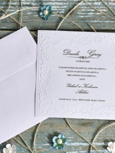 plan apropiat Invitatie model clasic bordura florala embosata 70282