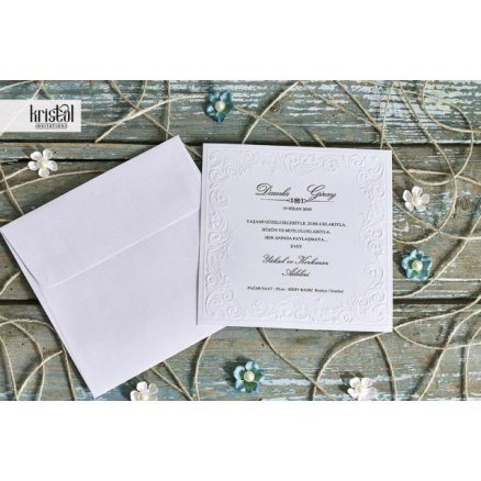 plan departat Invitatie model clasic bordura florala embosata 70282