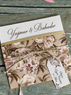 Plan apropiat invitatie Invitatie model floral snur iuta 70293