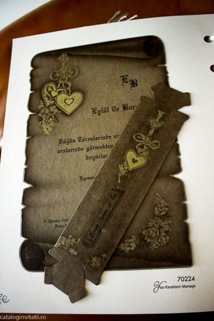 detaliu din catalog plan departat Invitatie papirus 70224
