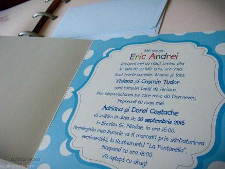 detaliu text interior invitatie Invitatie floare carucior fetita 107