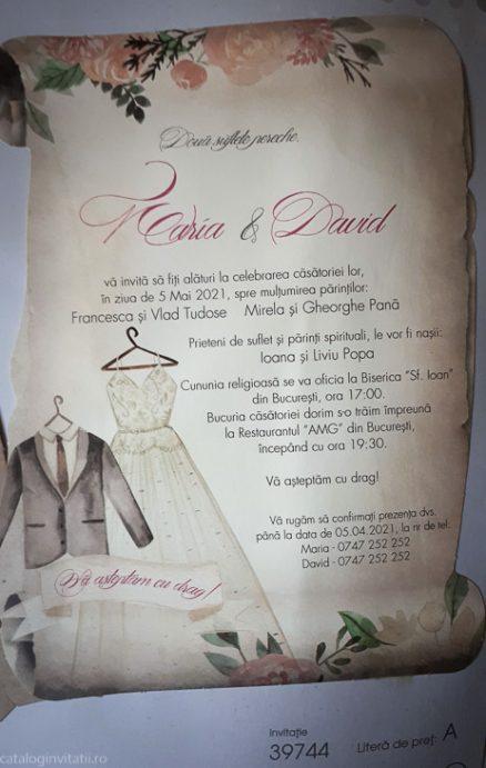 detaliu apropiat din catalog invitatie 39744