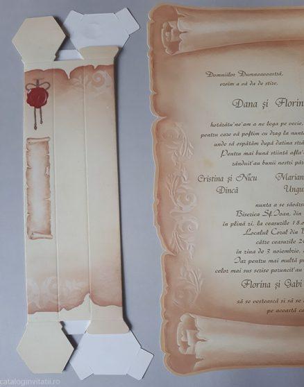 detaliu din catalog suport cornet invitatie papirus 30114