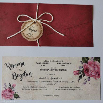 detaliu din catalog plic si carton text invitatie 22350